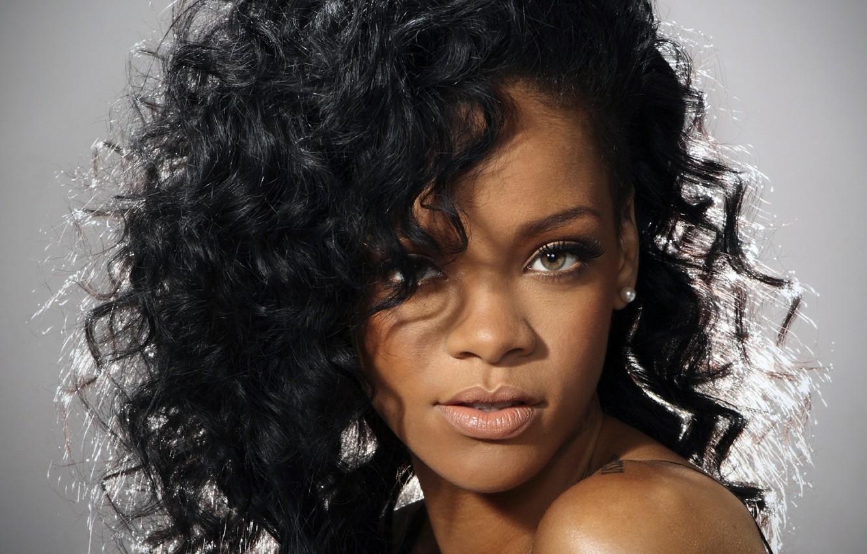 Photo wallpaper eyes, look, background, hair, singer, Rihanna, curls