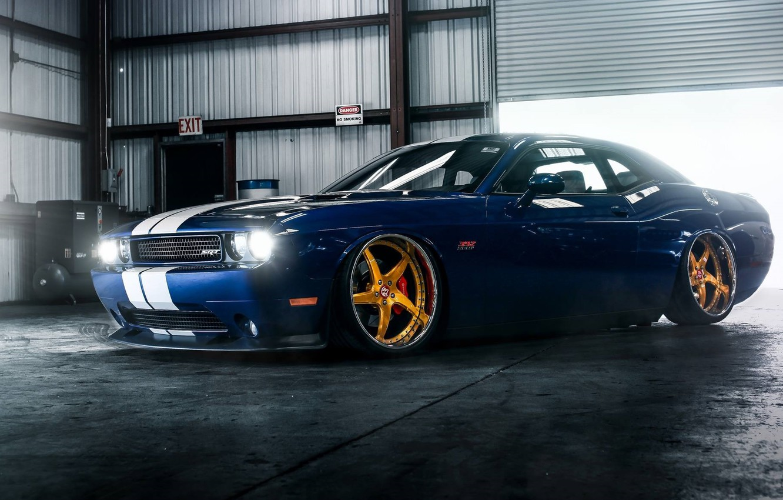 Wallpaper Muscle Dodge Challenger Car Hellcat Srt Gold Low