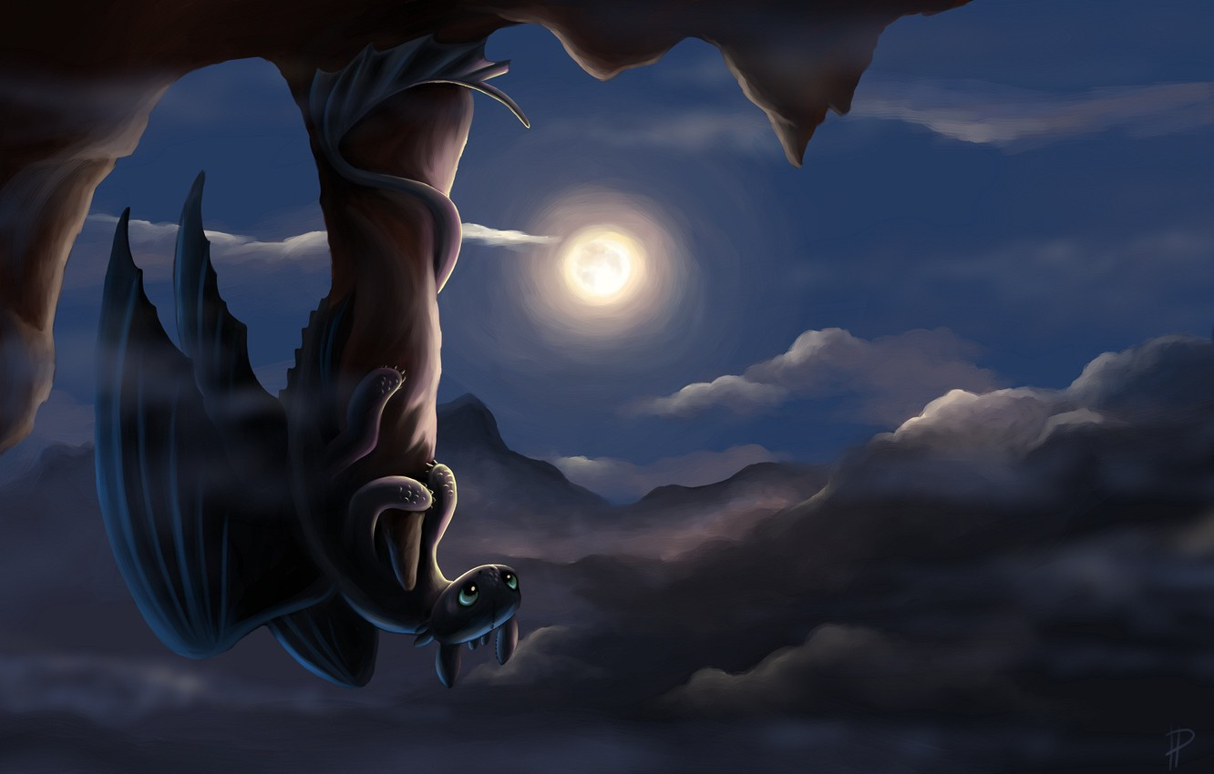 Photo wallpaper night, rock, the moon, dragon, art, Toothless, how to train your dragon, the night fury, …
