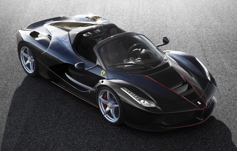 Photo wallpaper Ferrari, Black, new, Spider, LaFerrari