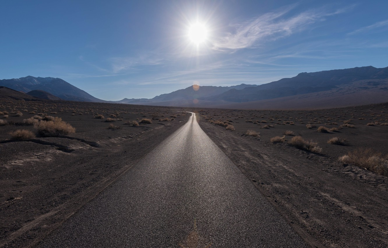 Photo wallpaper road, the sun, light, mountains, the steppe