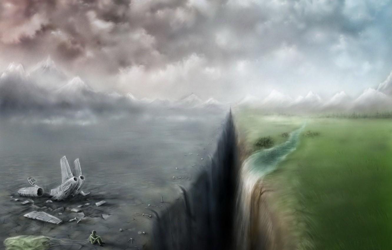 Photo wallpaper the plane, Waterfall, The crash, gorge