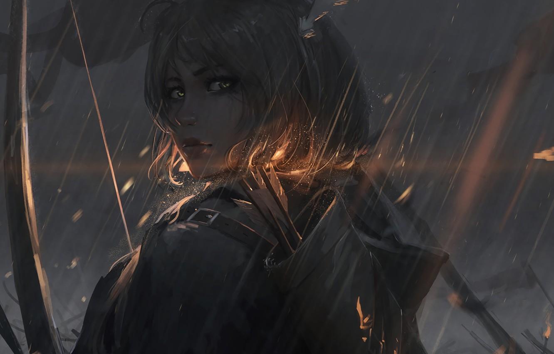 Photo wallpaper look, rain, Archer, Art, rain, archer, guweiz