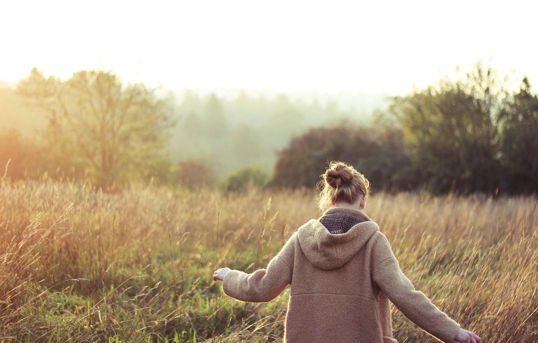 Photo wallpaper field, grass, girl, back, jacket