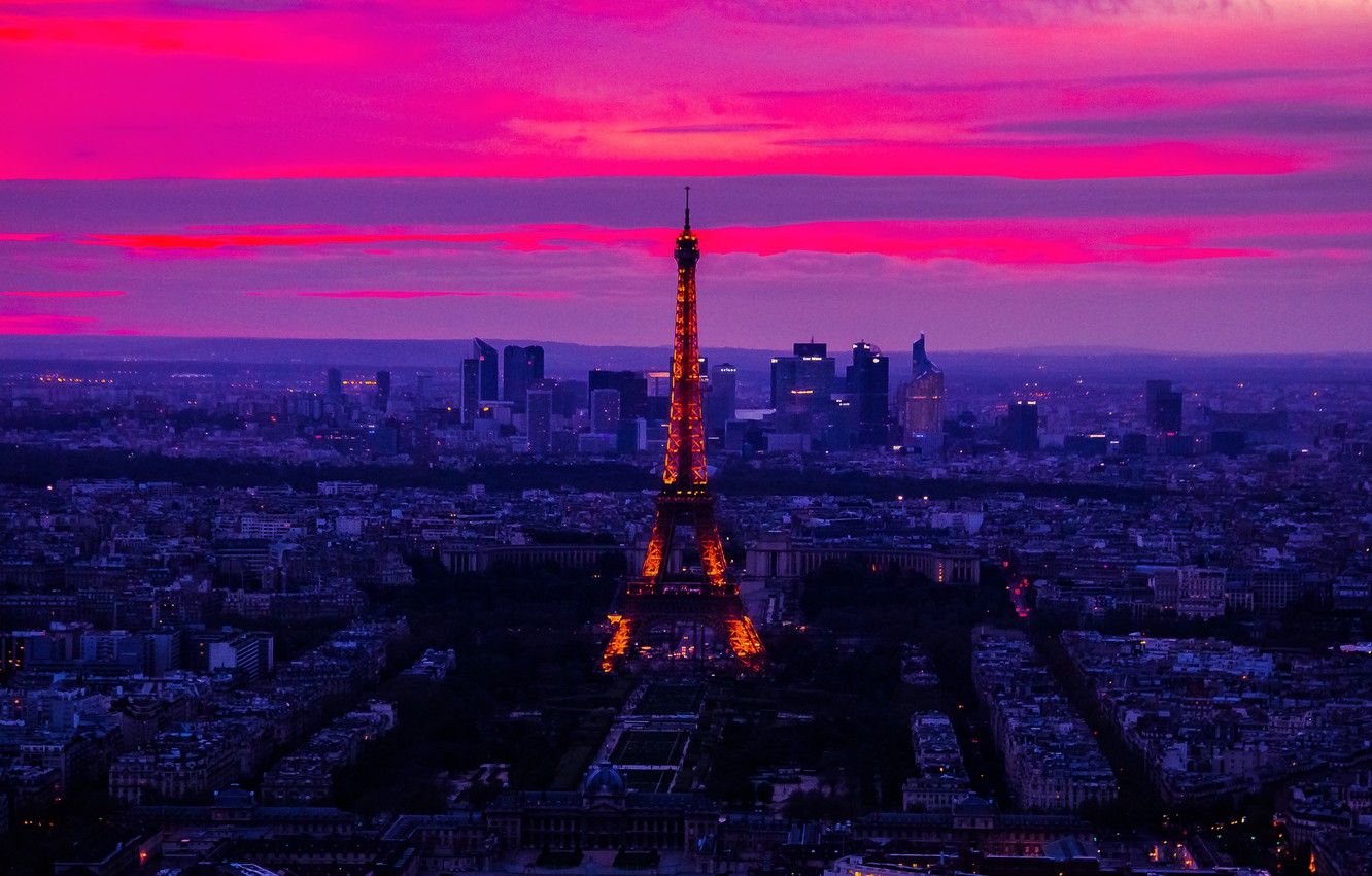 Wallpaper The Sky Clouds Sunset Night Lights France Paris Tower Panorama Glow Images For Desktop Section Gorod Download Sunset sky tower lights city night