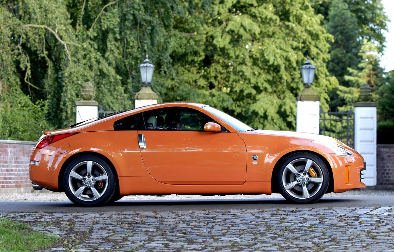 Photo wallpaper Orange, Nissan, Orange, Nissan, Car, 350z, Car, Wallpapers, Wallpaper, Side, 350з, 2007–08