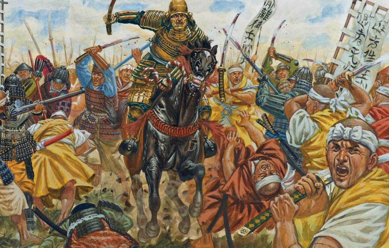 Photo wallpaper horse, figure, armor, Japan, war, art, rider, swords, military, spears, hats, feudal, June 12, 1560, …