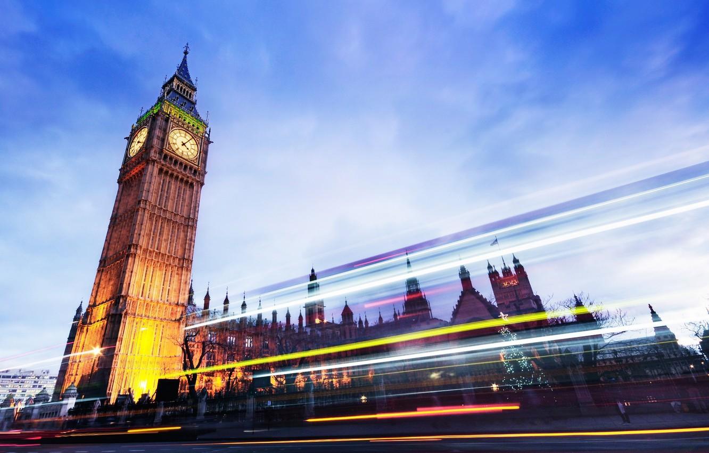 Photo wallpaper road, light, the city, lights, London, the evening, excerpt, UK, Big Ben