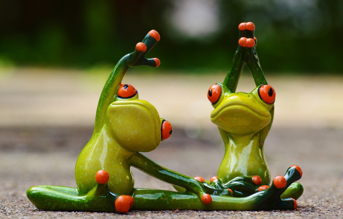 Photo wallpaper sport, toys, gymnastics, frog, yoga, frogs, fitness, figures, frog, funny