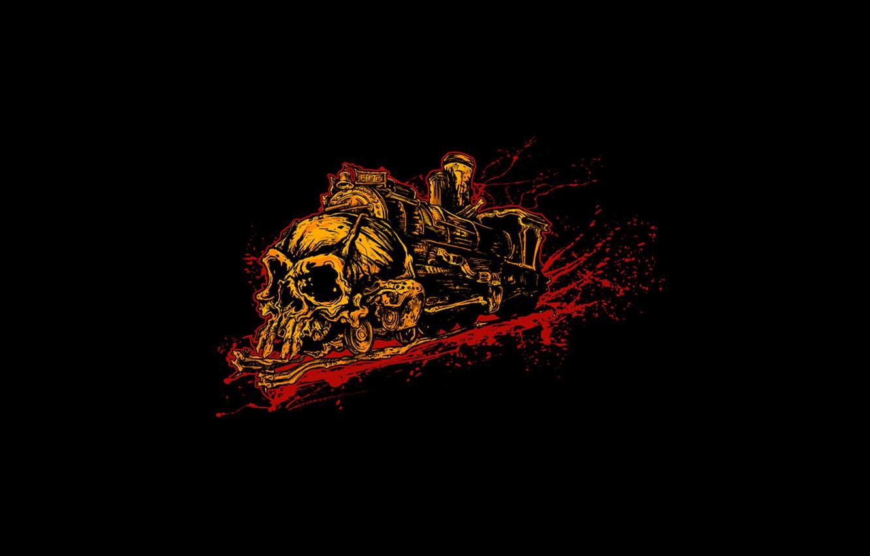 Photo wallpaper black, blood, skull, train, minimalism, grunge, hell train, brutal, trash, cruel