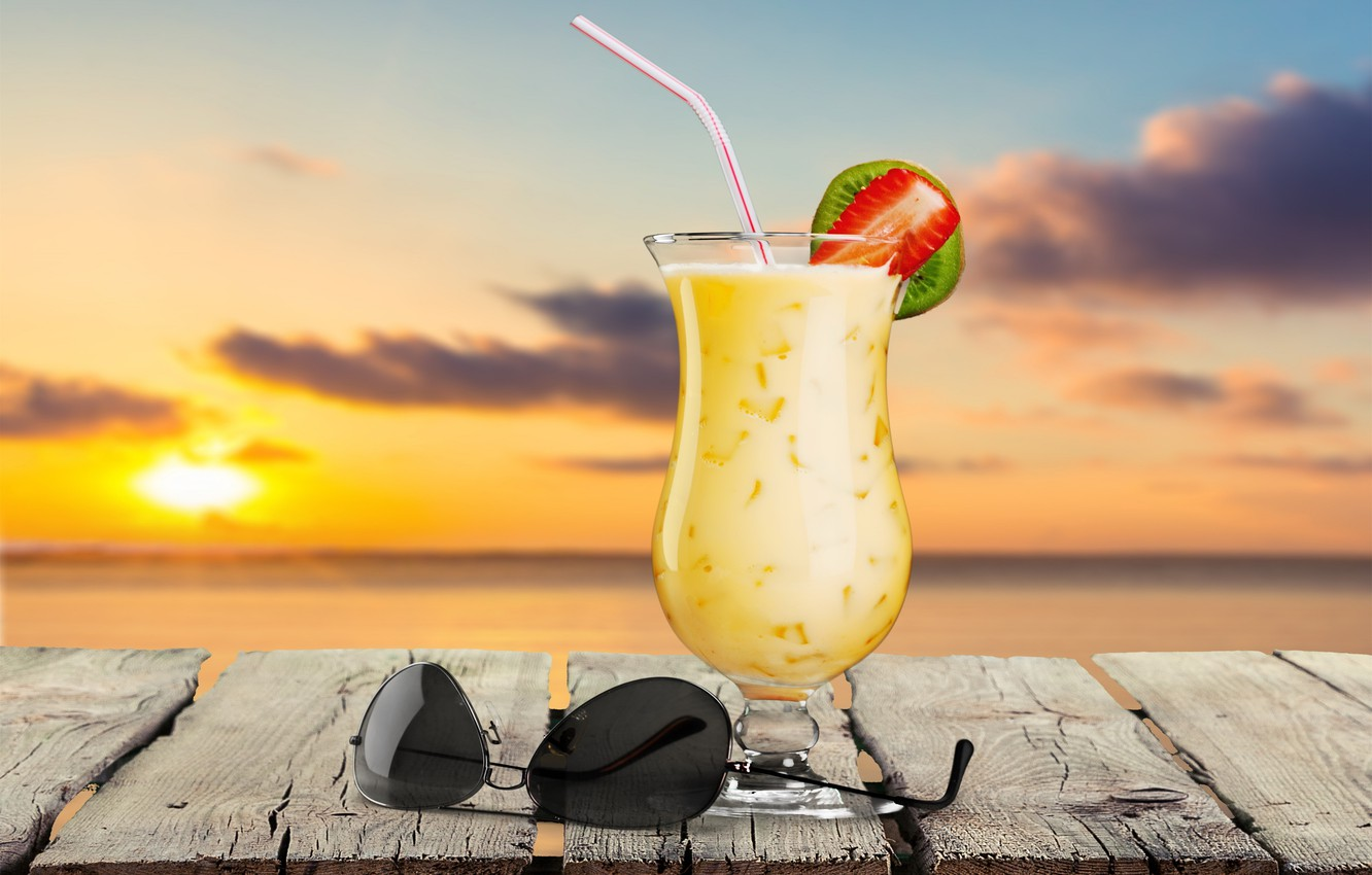 Photo wallpaper sea, beach, palm trees, cocktail, summer, beach, sea, paradise, drink, cocktail, vacation, palms, tropical