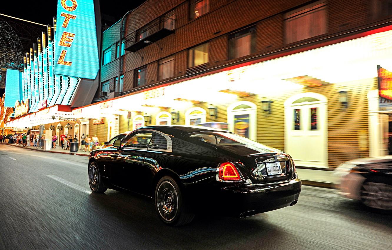 Photo wallpaper car, Rolls-Royce, car, in motion, beautiful, brilliant, chic, Wraith, Black Badge