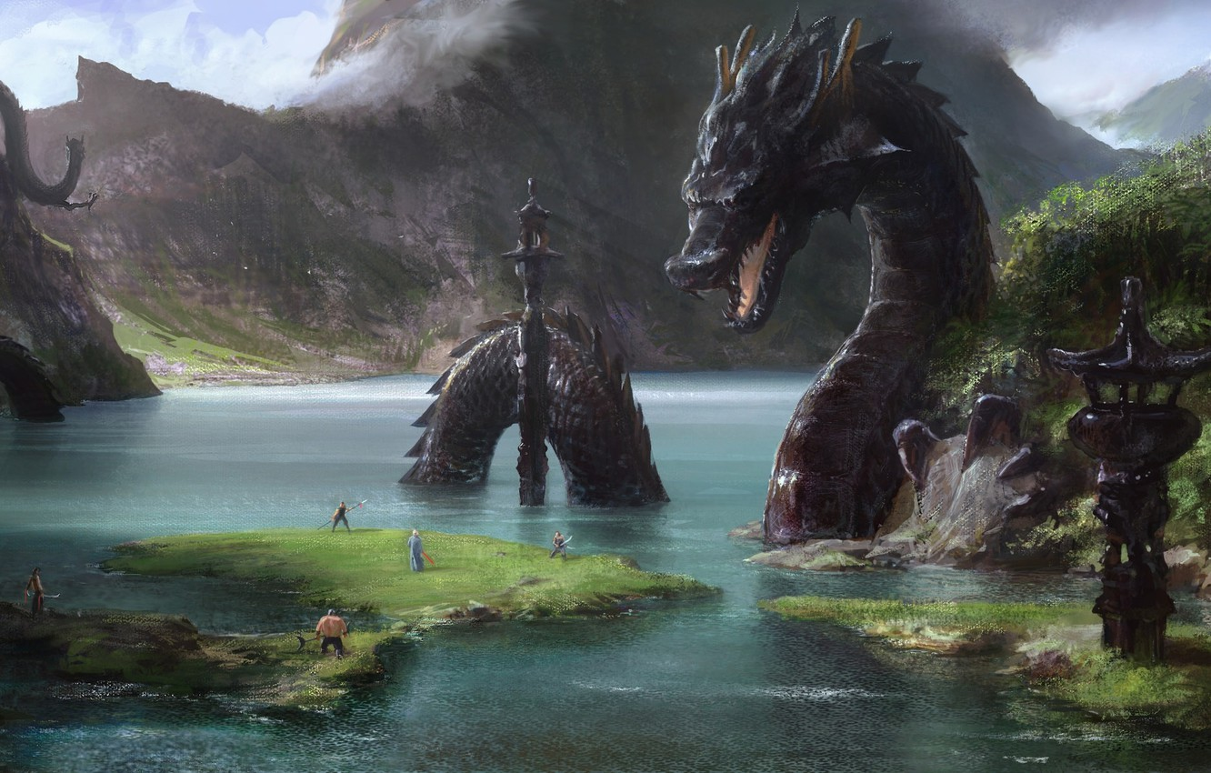 Photo wallpaper river, people, rocks, Asia, dragons, art, structure, giant