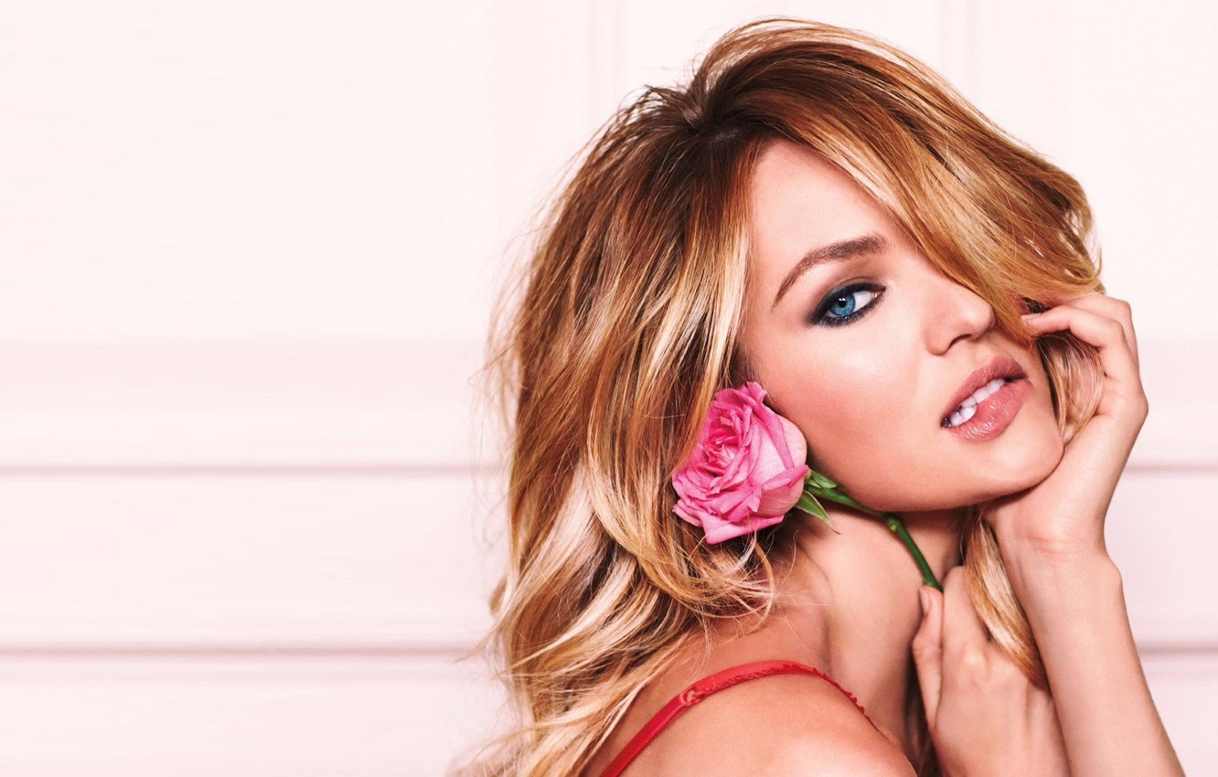 Photo wallpaper flower, eyes, look, girl, face, sexy, background, model, hair, rose, blonde, sexy, beauty, Victoria's Secret …