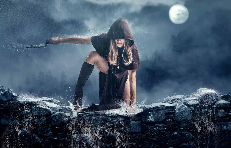 Photo wallpaper girl, rain, knife, cloak, Priest, art.