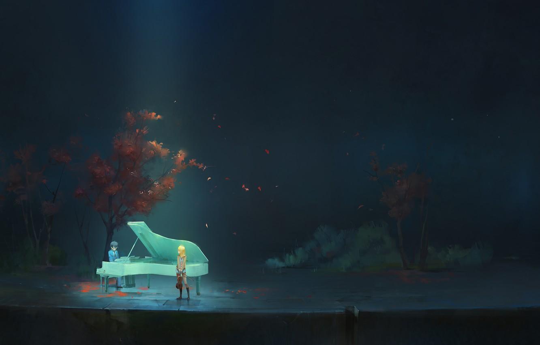 Photo wallpaper girl, trees, nature, violin, anime, piano, art, form, guy, students, a-shacho, arima kousek, shigatsu wa …