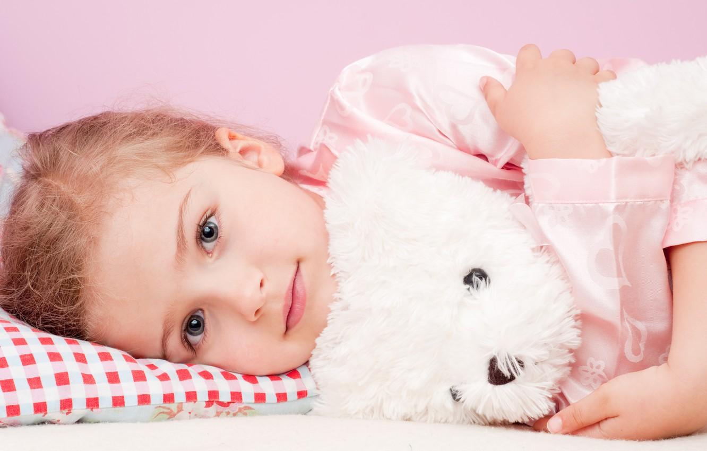 Photo wallpaper look, toy, girl, pillow, pajamas, child, gray-eyed, Teddy bear, blonde