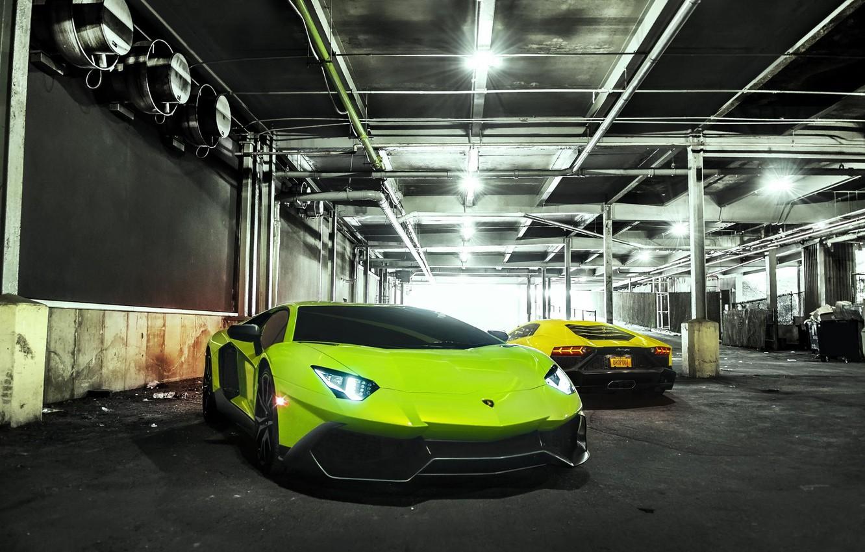 Photo wallpaper Lamborghini, Green, Yellow, Aventador, LP720-4, 50 Anniversario Edition
