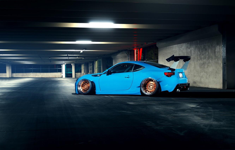Photo wallpaper Subaru, Car, Blue, BRZ, Stance, Low, Rear, Works