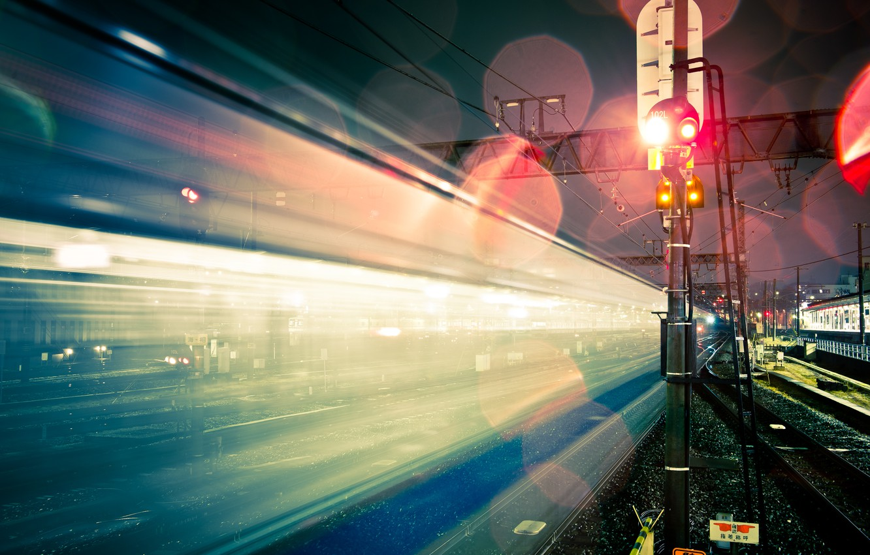 Photo wallpaper light, night, the city, glare, Japan, excerpt, railroad
