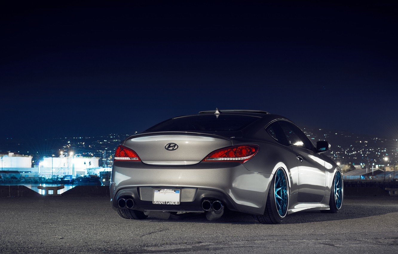 Photo wallpaper night, lights, tuning, Hyundai, Coupe, stance, Genesis, Hyundai