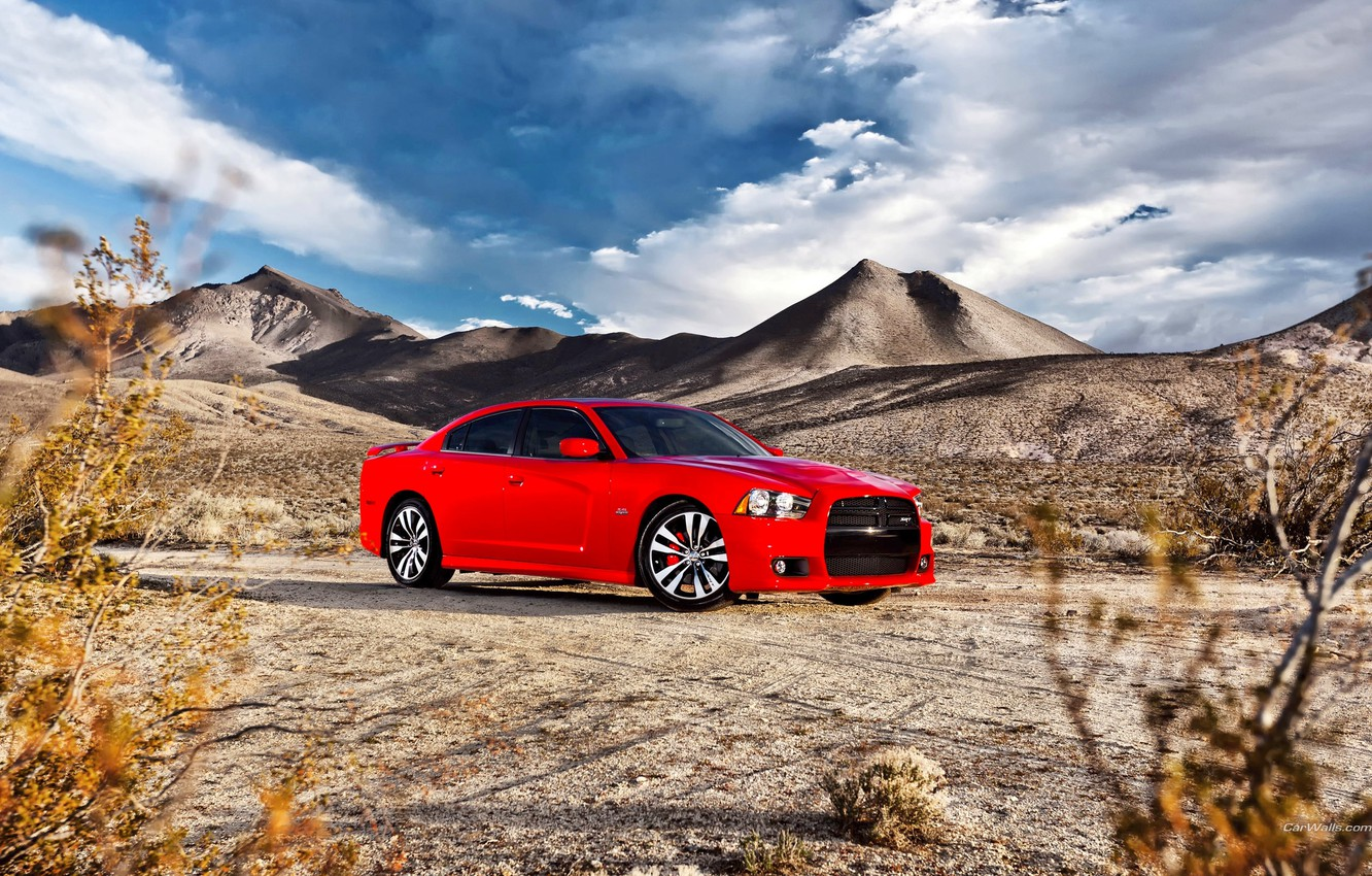 Photo wallpaper The sky, Red, Clouds, Auto, Mountains, Machine, Sedan, Dodge, charger