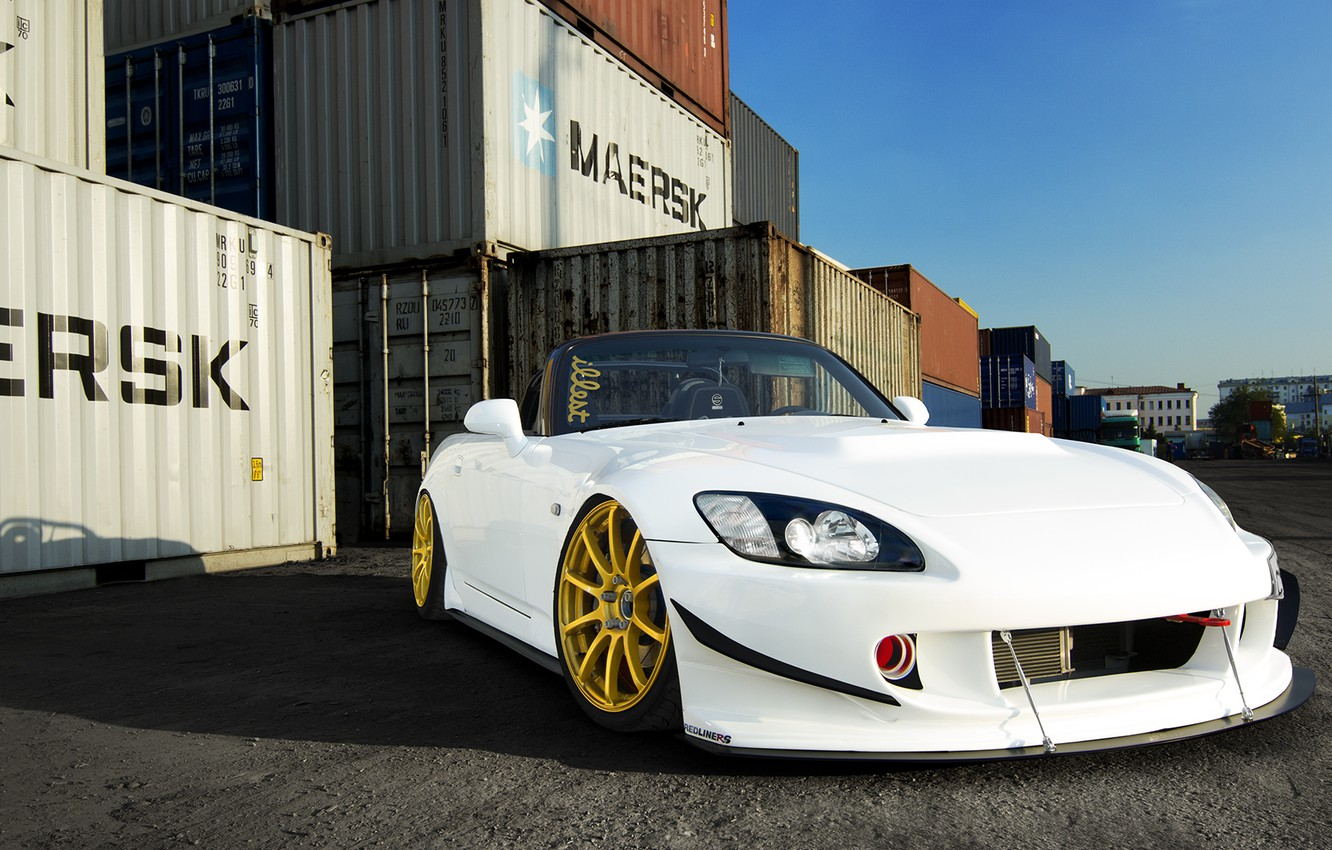 Photo wallpaper Honda, Car, Front, White, S2000, Tuning, Gold, Wheels