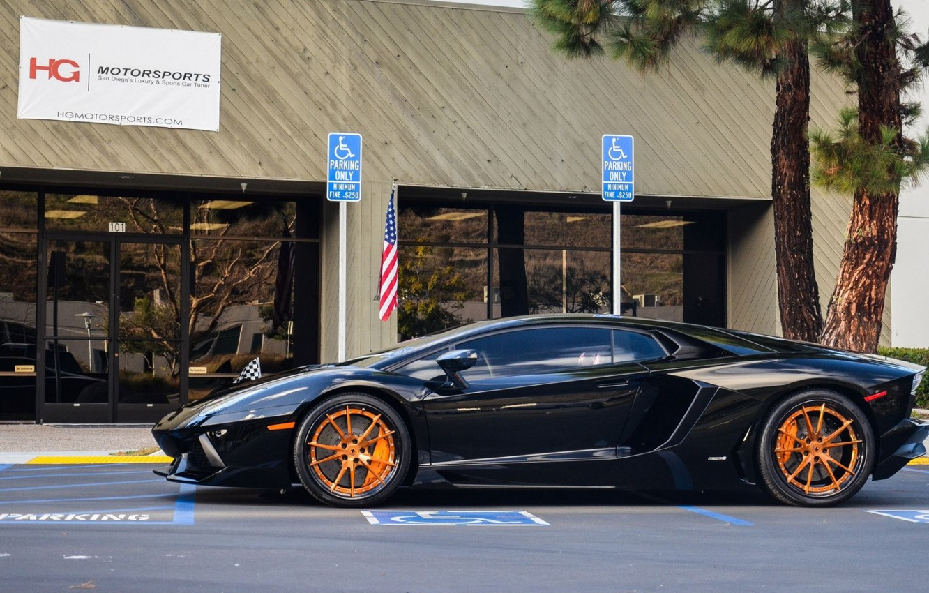 Photo wallpaper black, profile, lamborghini, drives, orange, aventador, lp700-4, aventador, blackбламборгини