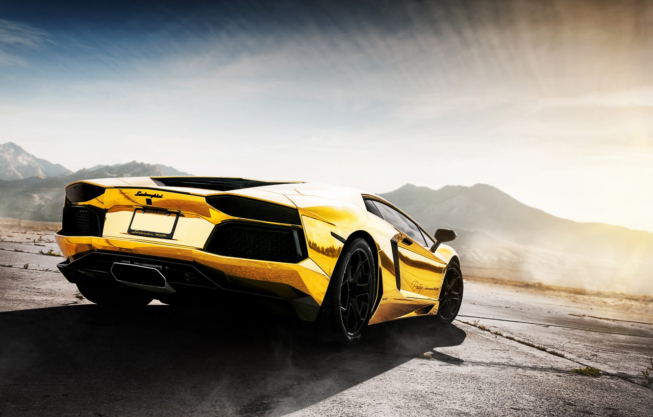 Photo wallpaper the sky, mountains, reflection, Lamborghini, Lamborghini Aventador, Aventador, Prestige Imports Miami, Golden Child, Project.AU79