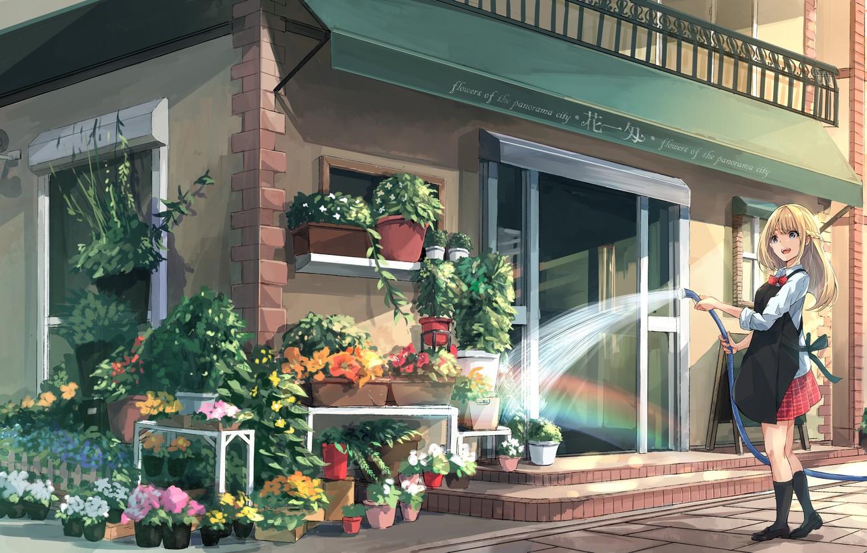 Photo wallpaper water, girl, flowers, the city, art, shop, hose, apron, pours, akira