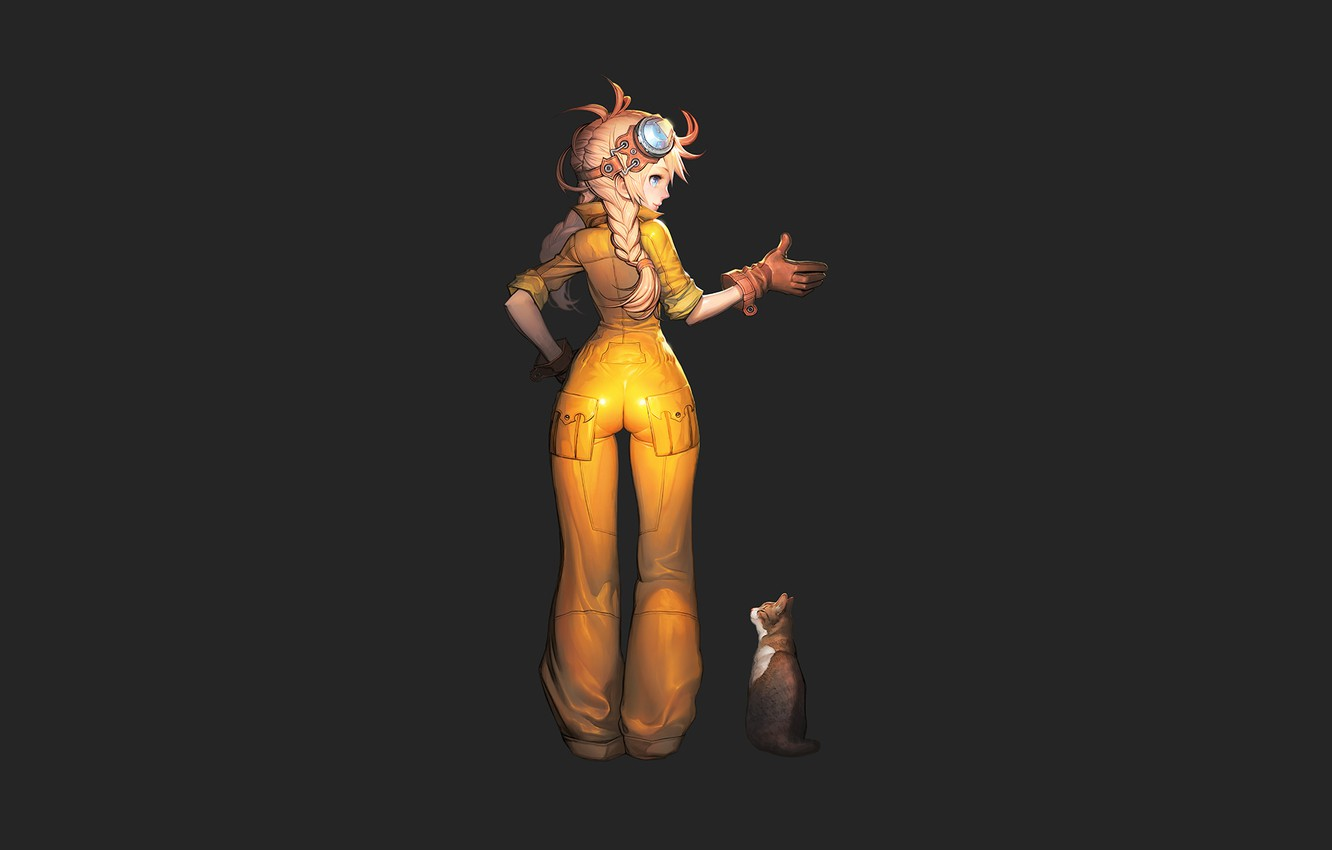 Photo wallpaper cat, girl, minimalism, black background, gesture, jumpsuit, yellow clothes