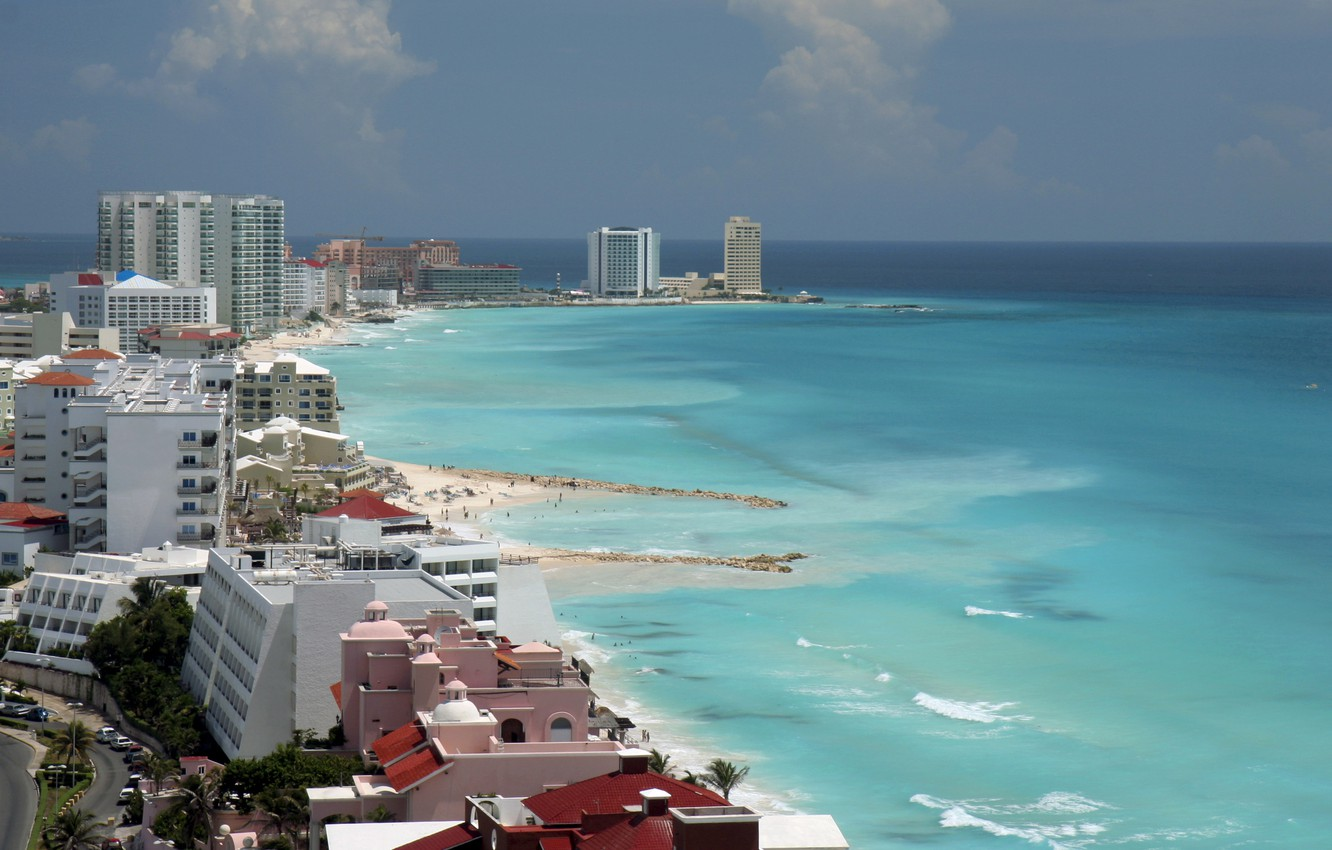 Wallpaper Sea Beach The Sky Landscape Clouds Coast Home Horizon Mexico Panorama Cancun Images For Desktop Section Gorod Download
