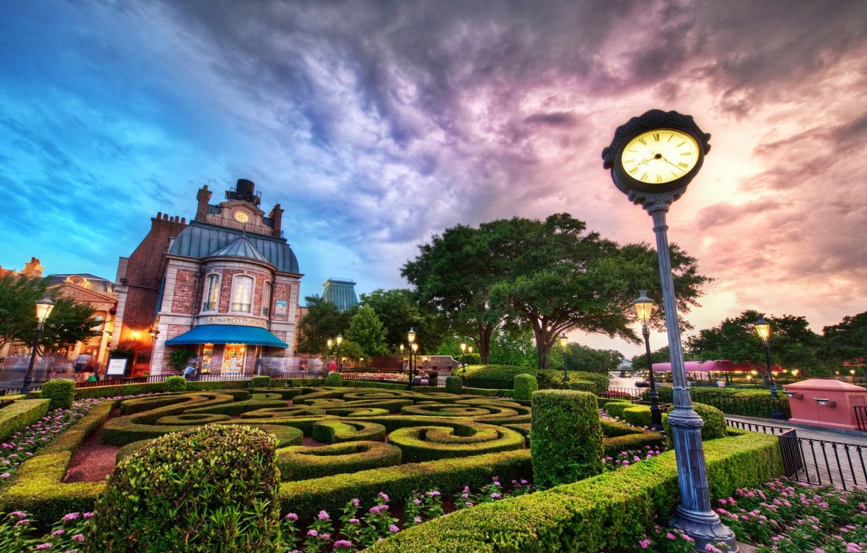 Photo wallpaper clouds, sunset, the building, lights, Sunset, Disney World