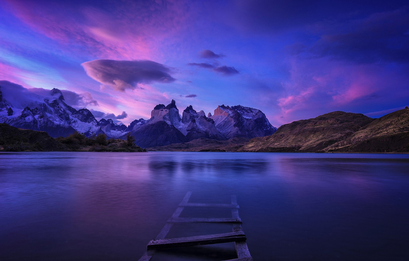 Photo wallpaper Sky, Purple, Landscape, Water, Mountain, Torres, Panoramic, Patagonia, Del Paine Chile