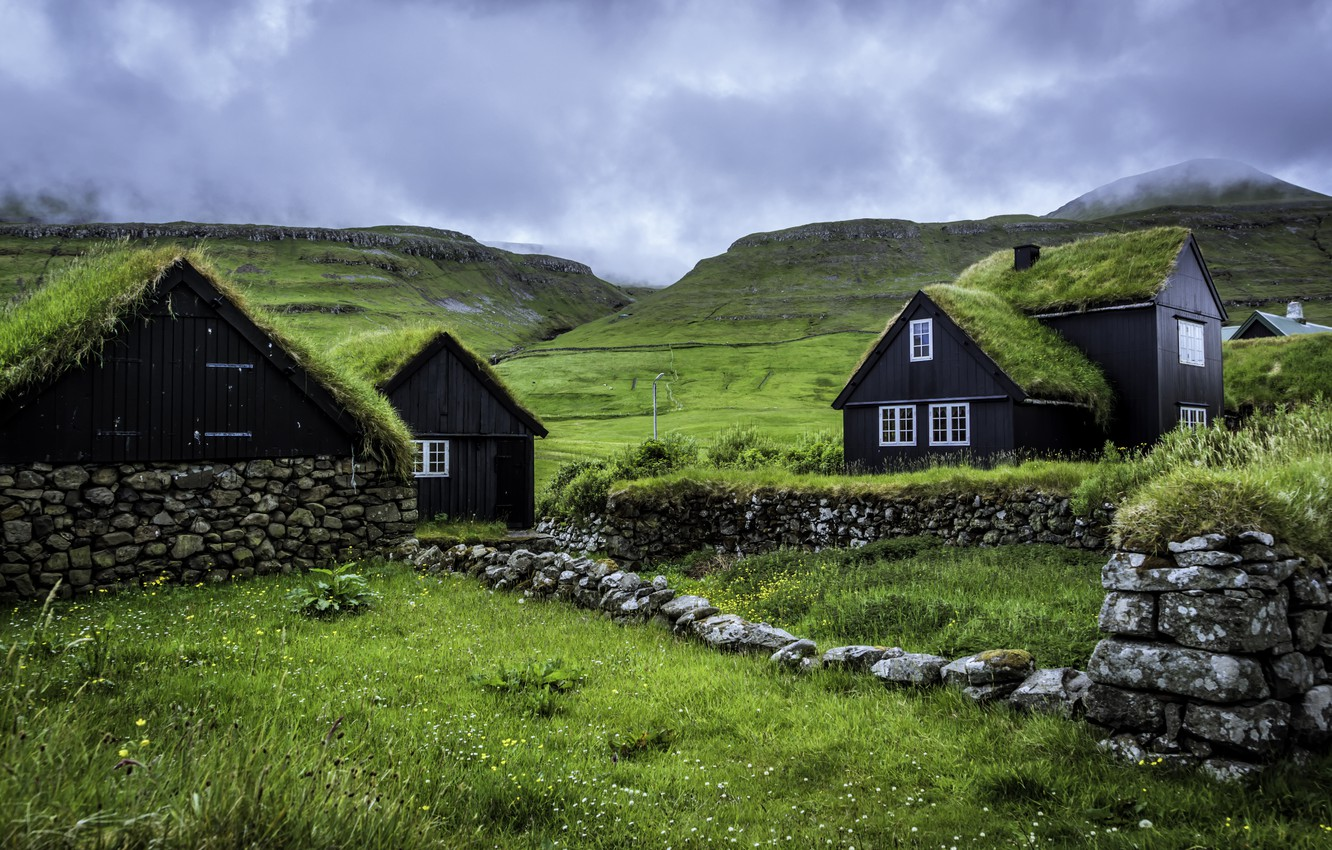 Photo wallpaper the sky, clouds, hills, houses, Faroe Islands, Faroe Islands, Husevig, Sandoy, Husavik Island