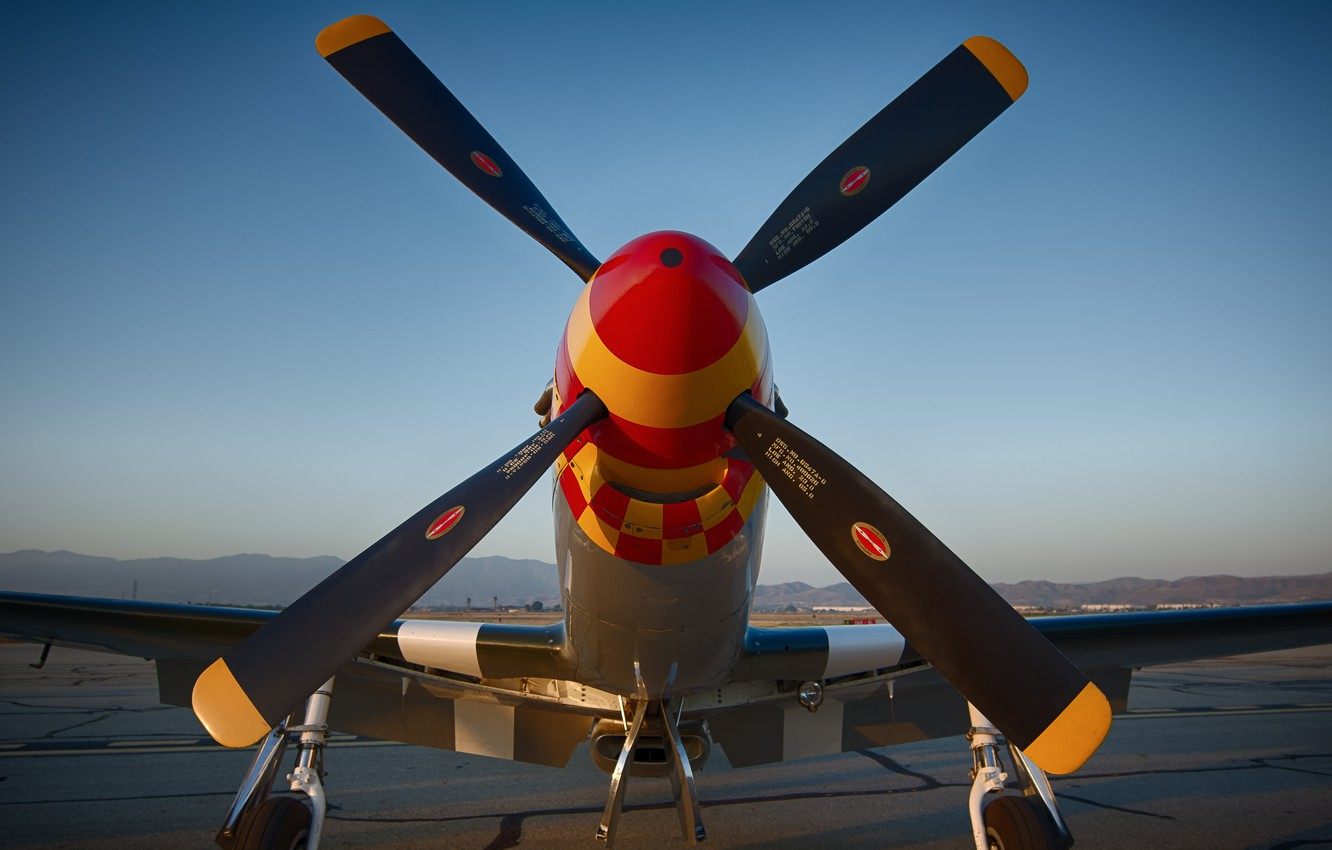 Photo wallpaper fighter, Mustang, propeller, the airfield