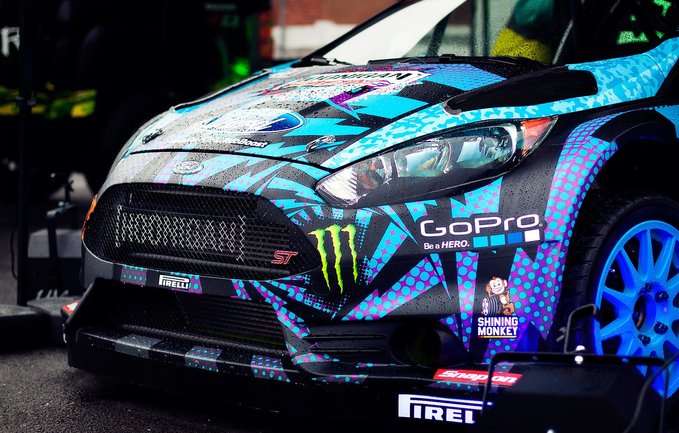 Photo wallpaper Ford, the front, Ken Block, Fiesta, Ken Block, Hoonigan, GoPro