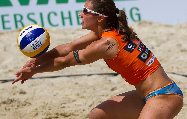 Photo wallpaper the ball, athlete, Beach volleyball, beach-voley