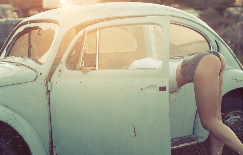 Photo wallpaper auto, ass, girl, model, Volkswagen, legs, Beetle, Nastya, Panteleeva