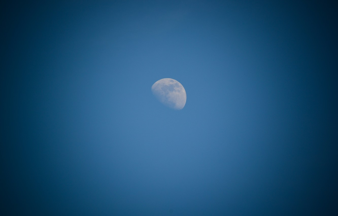 Photo wallpaper white, the sky, space, blue, the moon, craters