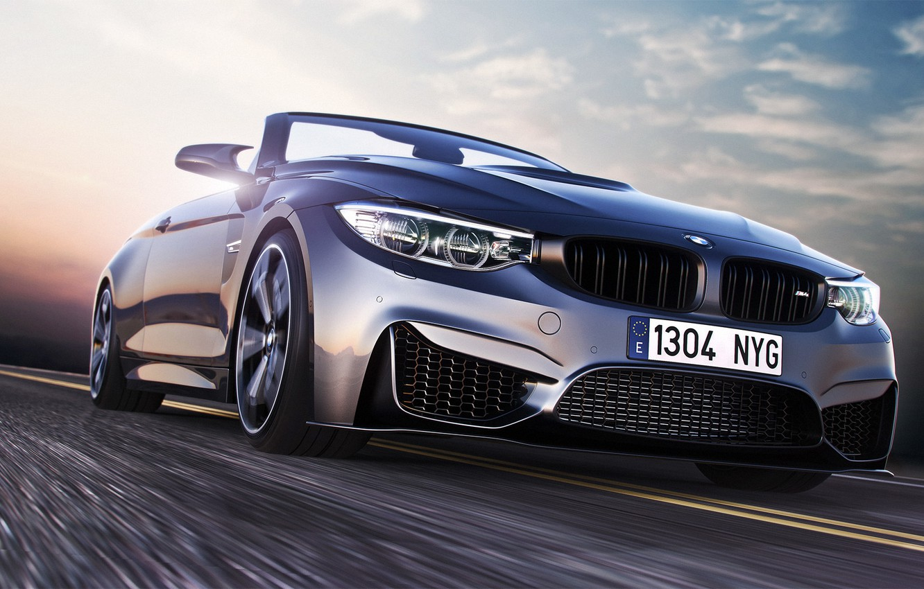 Photo wallpaper BMW, Car, Speed, Front, Sport, Road, Convertible