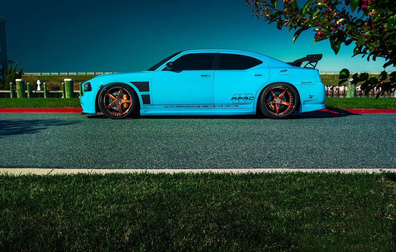 Photo wallpaper Dodge, SRT8, Car, Blue, Charger, Side, Rides, Blooded