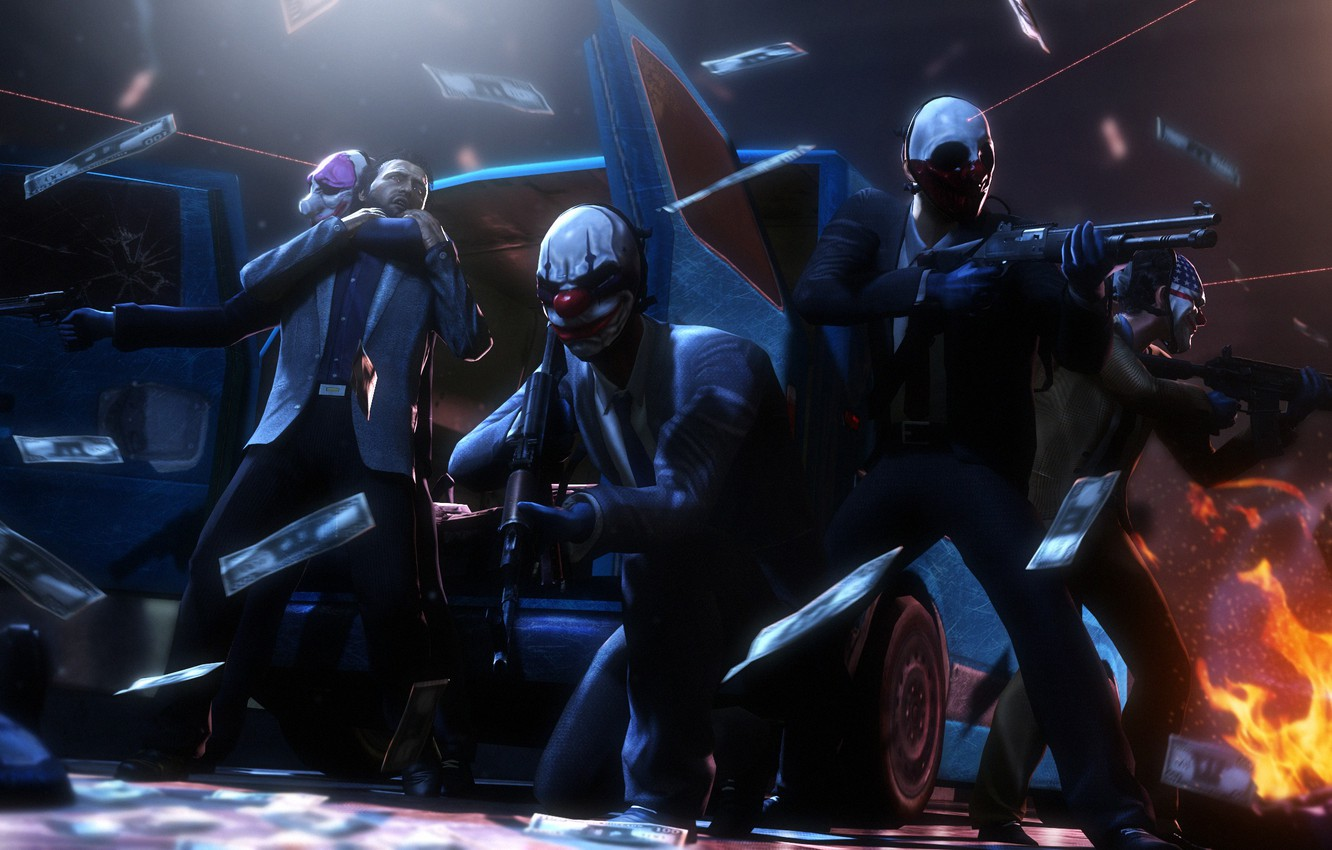 Photo wallpaper mask, robbery, the robbers, Payday 2, Overkill Software, 505