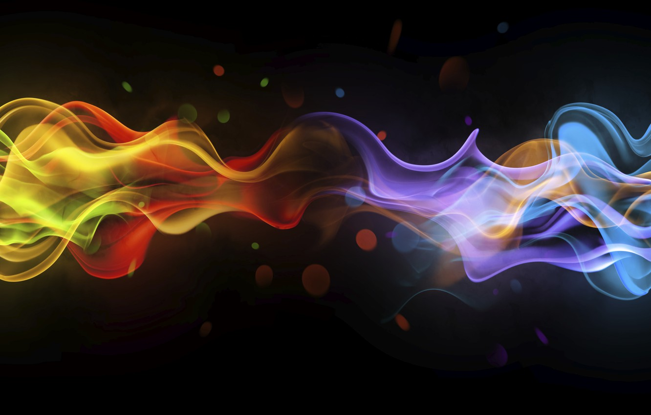 Photo wallpaper abstraction, smoke, black background, colorful