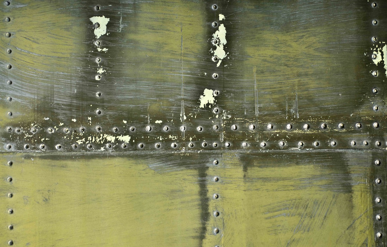 Photo wallpaper metal, color, texture, scratches, steel, rivets, plating, khaki.