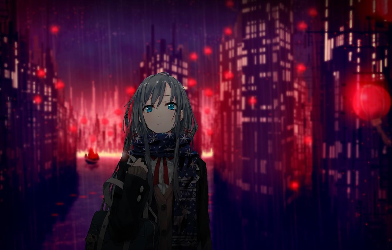 Photo wallpaper girl, the city, lights, rain, home, anime, scarf, art, schoolgirl