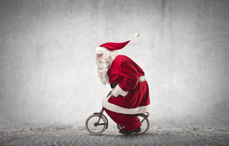 Photo wallpaper bike, street, hat, humor, small, glasses, New year, coat, beard, Santa Claus, the sidewalk, Santa …