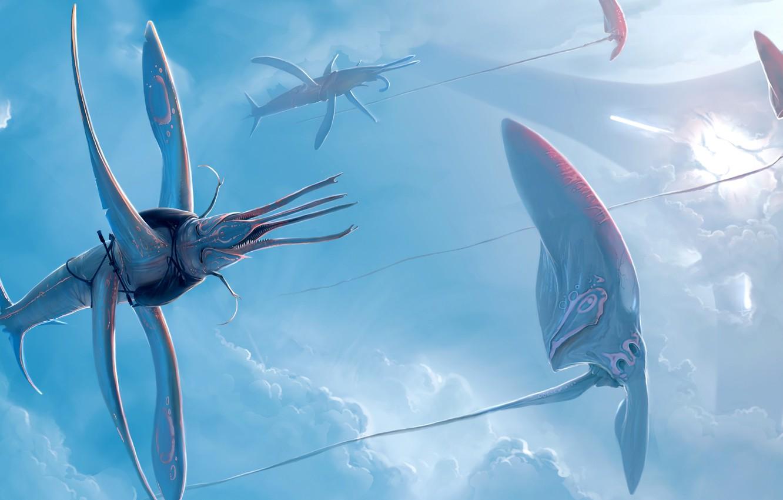 Photo wallpaper flight, art, tentacles, creatures, in the sky, abiogenisis