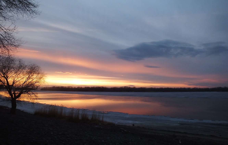 Photo wallpaper the sky, sunset, spring, Volga