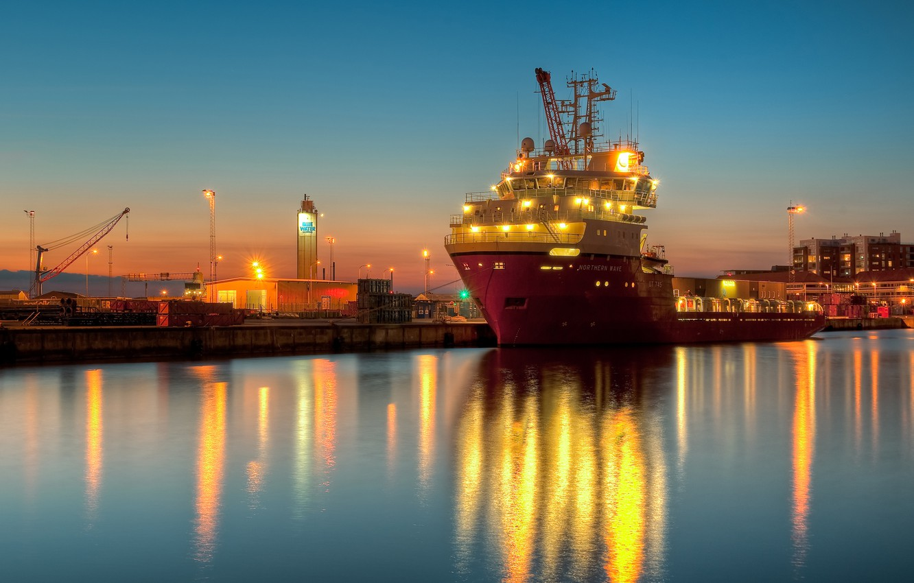 Photo wallpaper lights, ship, the evening, pier, Doc, barge